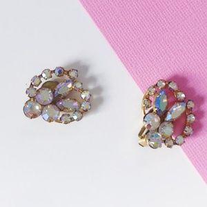 vintage iridescent crystal ear cuff clipons